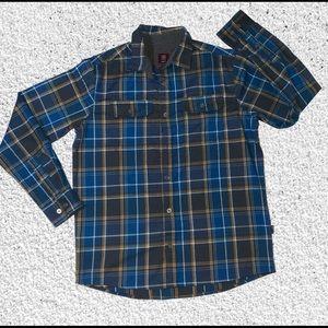 Swiss Tech plaid yellow & blue button up shirt
